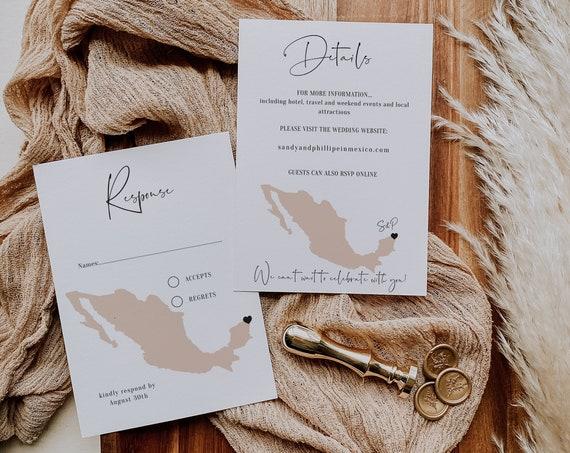 Destination - Mexico RSVP + Details Cards, Mexico Destination Wedding RSVP and Details, Corjl Templates, FREE Demo