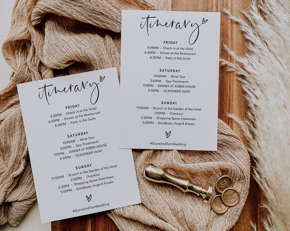 Itinerary for Wedding or Bachelorette Weekend, Printable Weekend Itinerary Cards, 4 sizes, Corjl Template, FREE demo | 86