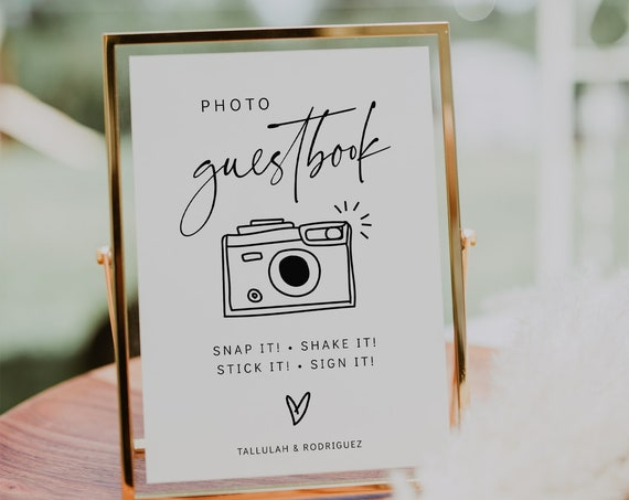Photo Guestbook Sign, Printable Wedding Guest Book Sign, Modern Minimalist Wedding Sign, Modern, 3 Sizes, Corjl Template, FREE demo | 86