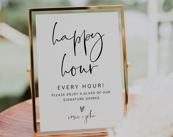 Happy Hour Printable Sign, Wedding Bar Sign, In 3 Sizes, Editable Wedding Sign, Corjl Template, FREE Demo