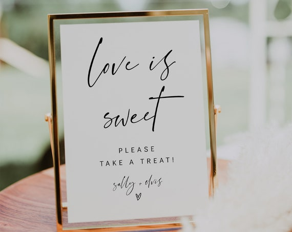 Love Is Sweet Modern Minimalist Wedding Sign, Please Take a Favor, Sweet Treat Baby Shower Signs in 3 Sizes, Corjl Template, FREE demo | 86