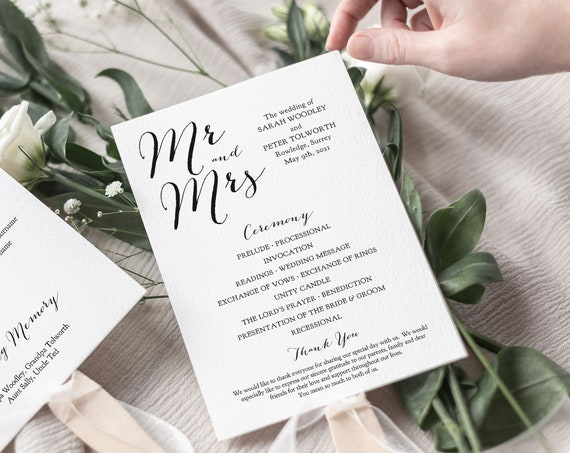 Wedding Program Fan Template, Modern Program download, Wedding Order of Service, Paddle fan wedding program 5x7. Sweet Bomb. Corjl FREE Demo