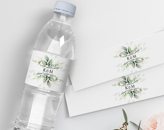 "Leaf & Gold - Wedding Labels for Water Bottles, DIY Printable Bottle Label Beautiful Greenery Design, 2.5"" Label, Corjl Template, FREE Demo"