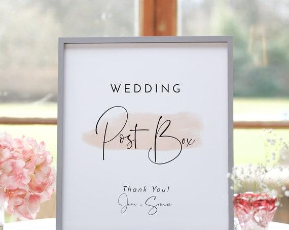 "Blush - Modern Wedding Postbox Sign, Blush Wedding, Printable Wedding Post Box Signs, 16x20"" & 8x10"", Corjl Templates, FREE Demo"