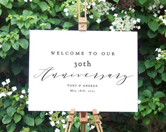 """30th Anniversary Welcome Sign, Printable 30th Anniversary or any other number, DIY Printable, """"Wedding"""" 4 sizes, Corjl Template, FREE Demo"""