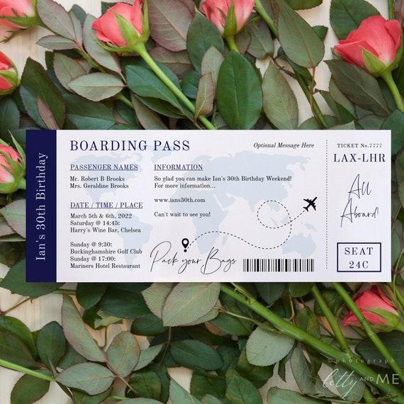 Boarding Pass Invitation, Airline Ticket Printable Template, Flight Ticket Invite, Easy to Edit & Print Corjl Templates, FREE Demo