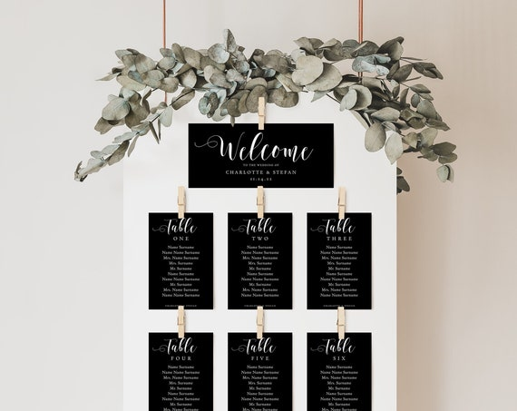 Black Seating Chart, Printable Wedding Seating Plan Cards with Any Colour Background, DIY Table Plan 'Mr. & Mrs.' Corjl Templates, FREE Demo
