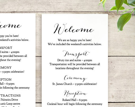 Wedding welcome notes instant download printable templates. Sweet Bomb. Edit, print, trim | 5x7 and 3.5x9 | Word files A4 and 8.5x11