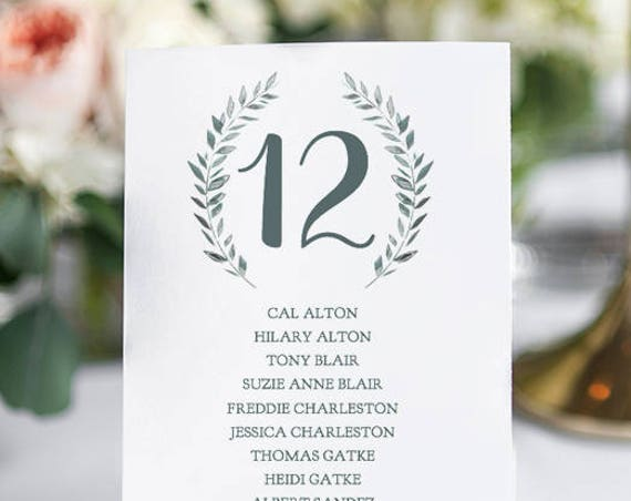 Wedding Seating Cards Template Rustic Printable Table Numbers | Royal Gardens | 5x7, two per page. Edit in WORD or PAGES