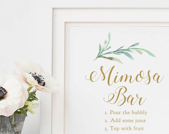 "Mimosa Bar Sign Printable Mimosa Bar Sign, 8x10"", Greenery, Printable Wedding Signage. Download and Print"