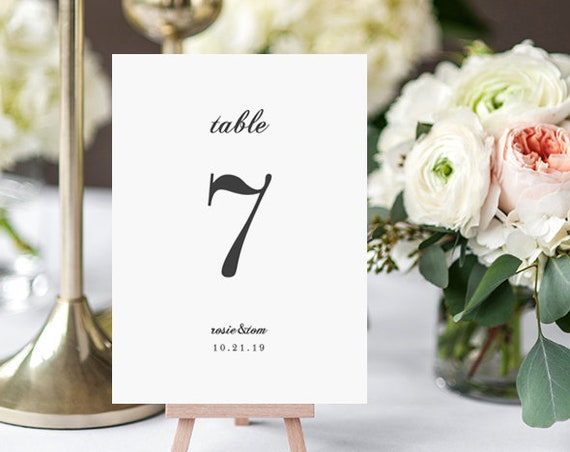 Elegant Table Numbers, Simple Wedding Table Numbers, elegant and classic wedding 'Rosie'. Edit in Word or Pages