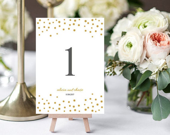 Gold confetti wedding table number template printable, Orlando | 5x7 table number templates, Edit in Word or Pages