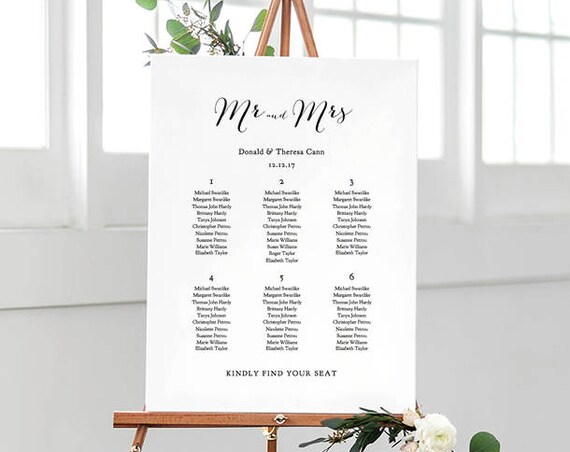 Wedding seating chart template printable 11x17 and A3 sizes, instant download. Sweet Bomb. Edit, print, Edit in WORD