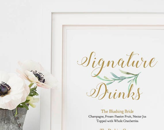 "Signature Drinks Sign, Bride and Groom Cocktails, Printable Signature Drink Sign Wedding, 8x10"", Greenery, Wedding Signage. Editable PDF"