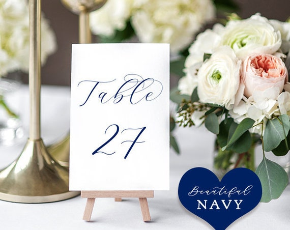 "Navy Table Numbers, Printable Navy Blue Numbers 1 - 50, 3x4"", 4x6"" and 5x7"" ""Beautiful"" Download and Print."
