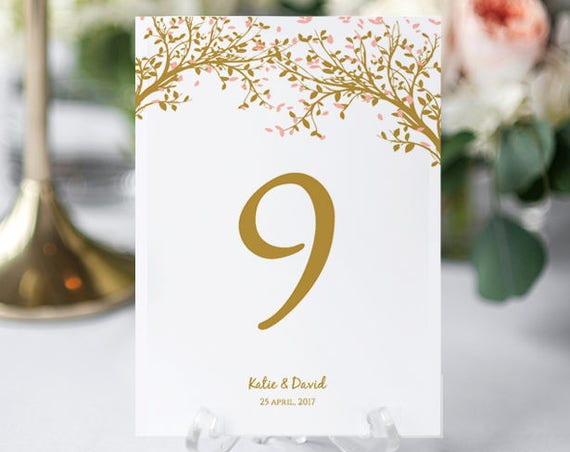"Tree Table Number, Wedding Table Number Template, Leaves, 4x6"" and 5x7"", Instant Download, Edit in WORD or PAGES."