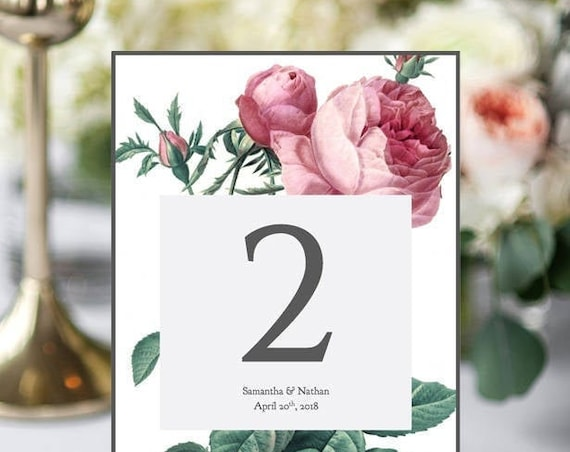 Rose table number printable template. 5x7. Edit, print and trim. Printable number cards, Vintage Rose | Editable printable template