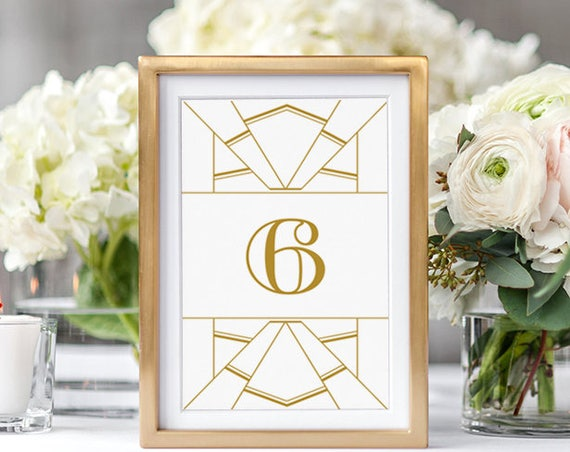 "Art Deco Table Numbers, Gold Art Deco Table Number Printable Template, 4x6"", 5x7"" Wedding table numbers. Edit in WORD or PAGES"