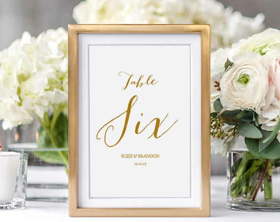 "Wedding Table Numbers Printable, 5x7"" Black or Gold Wedding Numbers 1-40. Sweet Bomb. Editable PDF"