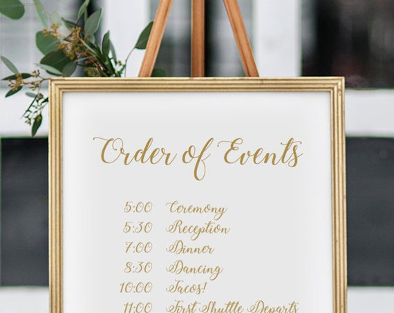 "Order of Events Sign Printable Order of the Day Wedding Sign 18x24"" and A2 sizes, Greenery, Wedding Signage. Editable PDF"