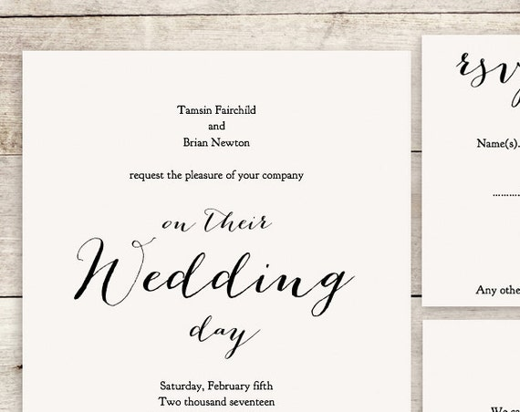 Wedding invitation set template instant download invitation printable, Sweet Bomb | Wedding DIY Editable printable template