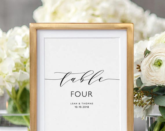 "Table Number Printable Elegant Wedding Table Name or Number 'Wedding', 5x7"", 4x6"" and 3x4"" table number. Edit in WORD or PAGES"