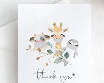 Baby Animal - Animals with or without Masks, Thank you Cards, Social Distance Baby Shower, Printable Editable Template, Corjl, FREE Demo