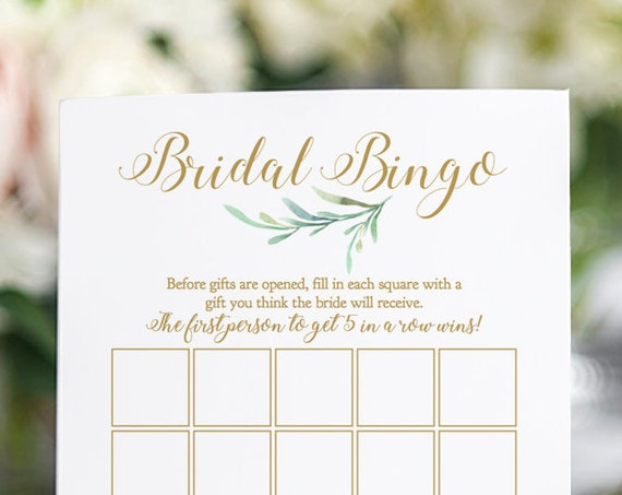 "Bridal Bingo Game, Printable Bridal Shower Bridal Bingo Game 5x7"" Greenery, Newlywed Games. Editable PDF"