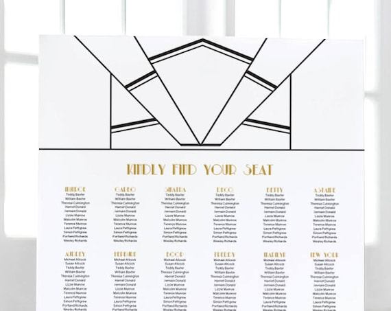 Art Deco table seating plan template. Tables or Alphabetical. Editable PDF, sizes: A0, A1, A2, 18x24, 24x36. Editable PDF Reader.
