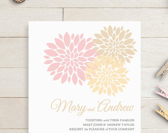 Champagne pink gold Wedding Invitation template printable, champagne blush pink gold invitation, Invitation printable template