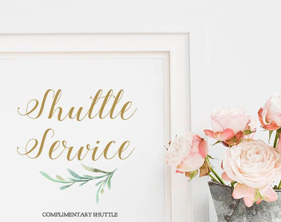 "Shuttle Service Sign, Wedding Shuttle, Carriages Sign, Printable Wedding Shuttle Sign, 8x10"", Greenery, Wedding Signage. Editable PDF"