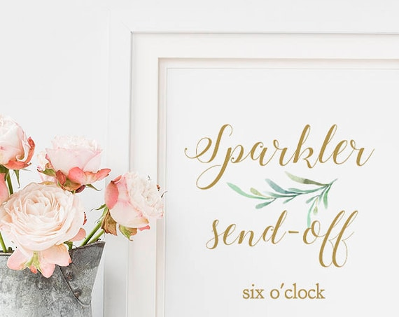 "Sparkler Send Off Sign, Light the Way Sparkler Sign, Printable Wedding Signage, 8x10"", Greenery, Wedding Signage. Editable PDF"