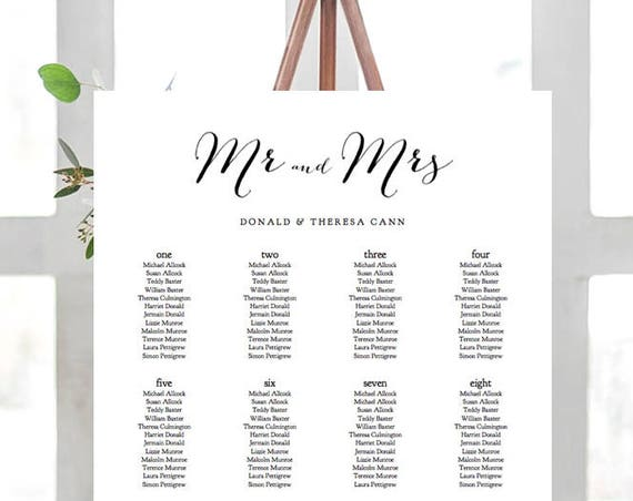 Wedding Seating Charts Printable. Alphabetical or Table names or numbers. Portrait shape, 6 sizes incl 24x36 & A1 | Editable PDF