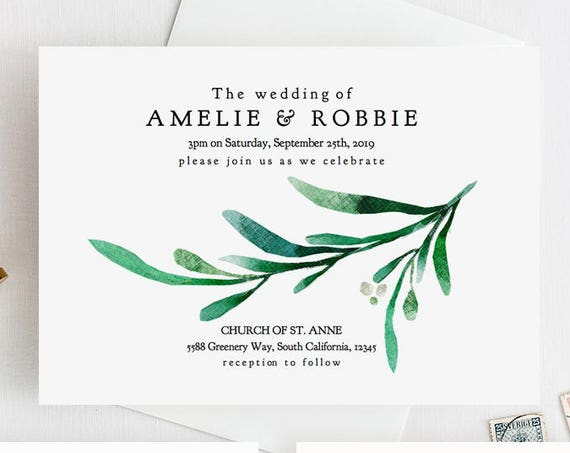 "Greenery Wedding Invitation Printable Templates, Printable Wedding Invitations, Rsvp and Details cards ""Wedding Greenery"" Editable PDF"