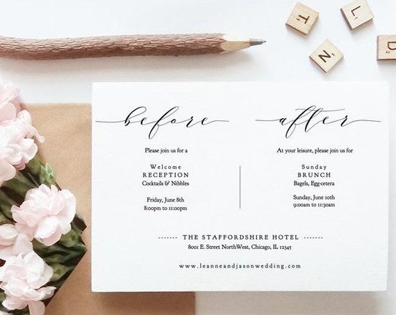"Before and After Wedding Day Printable Cards, Rehearsal, Reception, Brunch, Wedding Breakfast, DIY Cards 5x7"", ""Wedding"" Editable PDF"