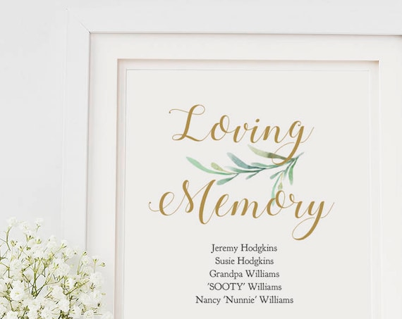 "Loving Memory Sign, Forever in our Hearts, Wedding Signs 8x10"", Printable Loving Memory Sign, Greenery, Wedding Signage. Editable PDF"