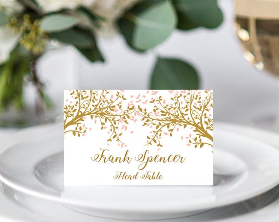 Gold Tree Name Place Cards, Table Place Cards, Leaves, Flat and Folded, Editable PDF