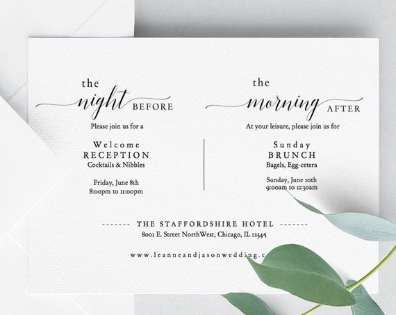 Morning After Night Before Invitation, Printable Reception Invitation, Brunch Invitation, 'Mr. Right', Editable PDF