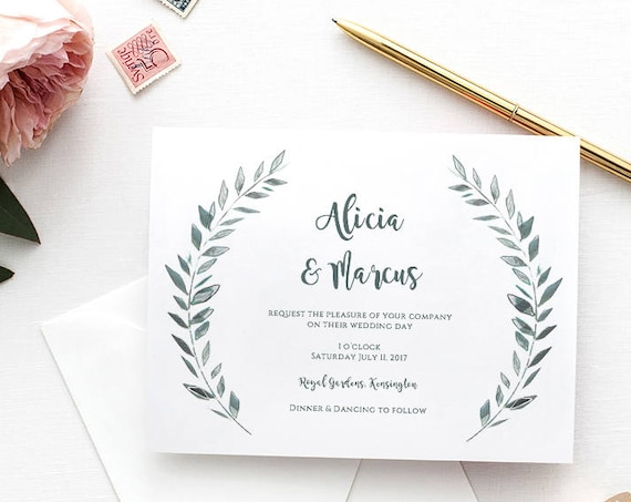 "Wedding Invitation Template Download Rustic Printable Invitation, Leaves wreath Invitation ""Royal Gardens"" Edit in WORD or PAGES"