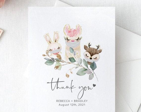 Baby Animal - Thank You Card, Animals with Masks, Social Distance Baby Shower, Printable Editable Template, Corjl, FREE Demo