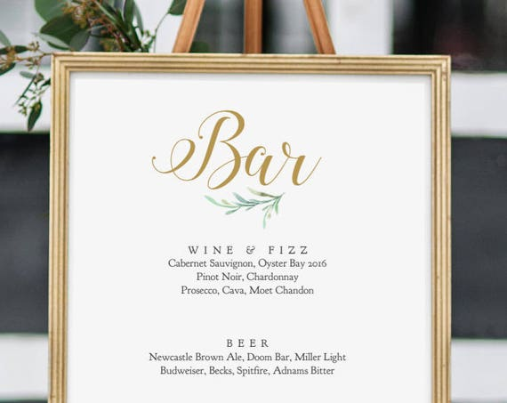 "Bar Sign, Printable Wedding Bar Menu Sign, 5x7"", 8x10"" and 18x24"" printable signs.'Greenery', Wedding Signage. Editable PDF"