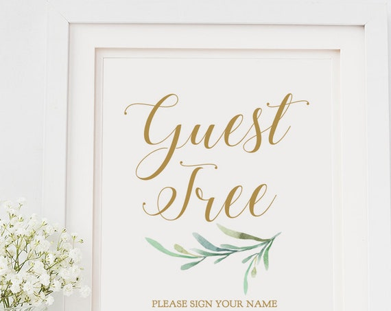 "Greenery Guest Tree Sign, Printable Guest Tree Sign your name Leaf your thumbprint, 8x10"" Download and Print"