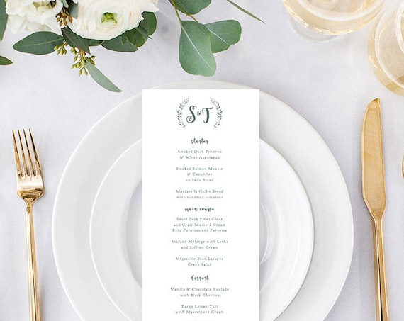 Wedding Menu template rustic printable menu - long and 5x7 menu templates included | Leaves wreath | Royal Gardens | Editable printable