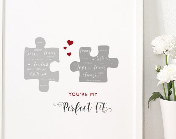 "Valentines Gift for Him or Her, Printable Perfect Fit Print + DIY Valentines Card. 8x10"" sign, 5x7"" and A5 size cards, Instant Download"
