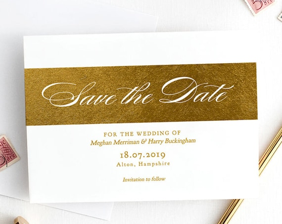 "Gold Save the Date Metallic Gold Foil effect printable template Save the Date card, Printable, ""Royal"" . Edit in WORD"
