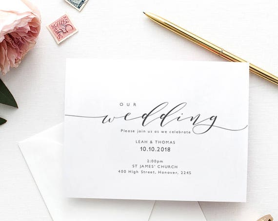 "Wedding Invitation Template | Printable wedding invitation | DIY invitations | ""Wedding"" 