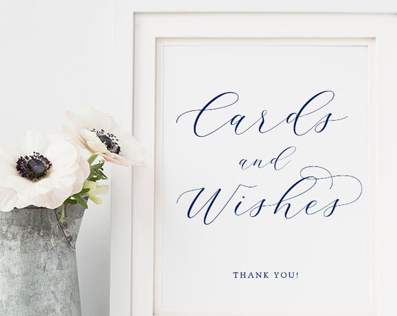 "Navy Cards and Wishes Sign Printable 8x10"" Cards and Wishes Wedding Sign ""Beautiful"" Download and Print."
