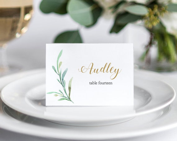 Greenery Wedding Table Place Card Template - Flat and Folded Name Place Cards. 3.5x2.5 inches. DIY Place Cards, Edit in WORD or PAGES