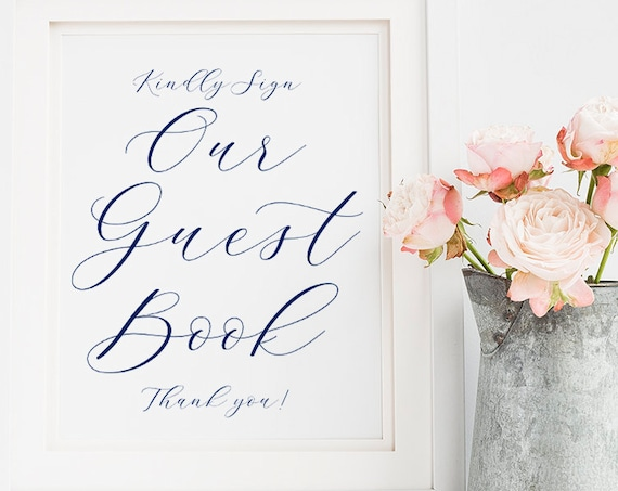 "Navy Guest Book sign, Printable Wedding Guest Book Sign ""Beautiful"" 8x10"" Download and Print"