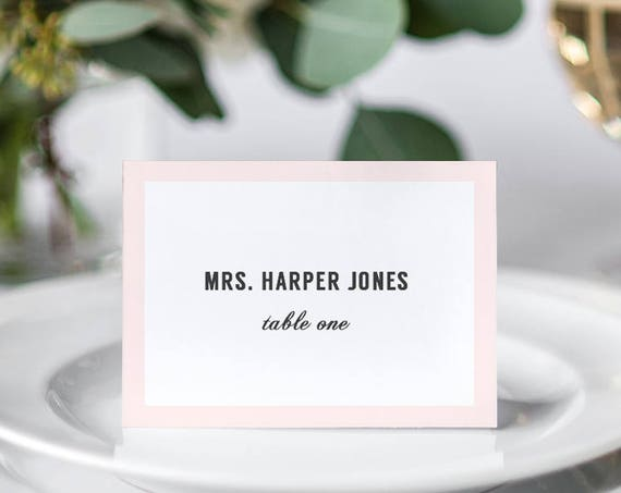 Modern Wedding table name place cards with or without border, any colours, flat or folded name cards | Harper, Edit in WORD or PAGES